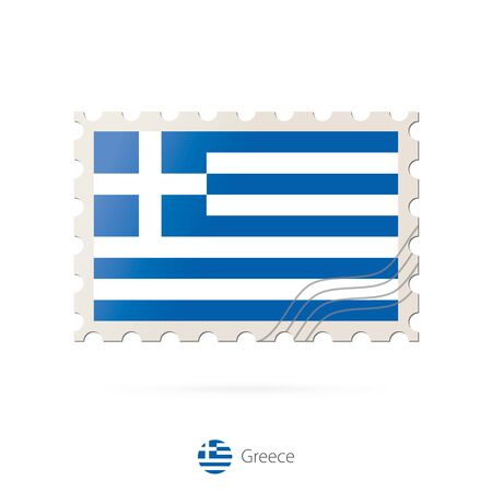 greece flag: Postage stamp with the image of Greece flag. Greece Flag Postage on white background with shadow. Vector Stamp. Postage stamp and Greece flag. Vector Illustration.