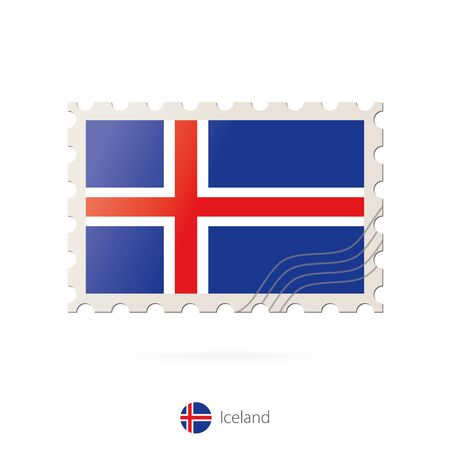 iceland flag: Postage stamp with the image of Iceland flag. Iceland Flag Postage on white background with shadow. Vector Stamp. Postage stamp and Iceland flag. Vector Illustration. Illustration