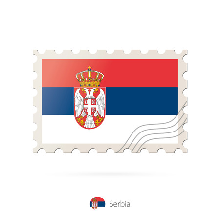 serbia flag: Postage stamp with the image of Serbia flag. Serbia Flag Postage on white background with shadow. Vector Stamp. Postage stamp and Serbia flag. Vector Illustration. Illustration
