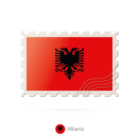 postage stamp: Postage stamp with the image of Albania flag. Albania Flag Postage on white background with shadow. Vector Stamp. Postage stamp and Albania flag. Vector Illustration.