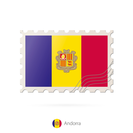 Postage stamp with the image of Andorra flag. Andorra Flag Postage on white background with shadow. Vector Stamp. Postage stamp and Andorra flag. Vector Illustration.