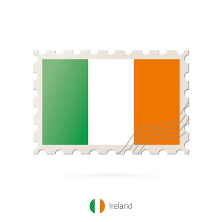 ireland flag: Postage stamp with the image of Ireland flag. Ireland Flag Postage on white background with shadow. Vector Stamp. Postage stamp and Ireland flag. Vector Illustration.