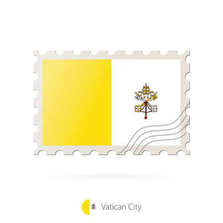 vatican city: Postage stamp with the image of Vatican City flag. Vatican City Flag Postage on white background with shadow. Vector Stamp. Postage stamp and Vatican City flag. Vector Illustration.