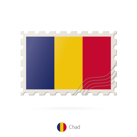 chad flag: Postage stamp with the image of Chad flag. Chad Flag Postage on white background with shadow. Vector Illustration. Illustration