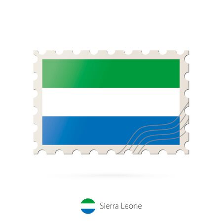 leone: Postage stamp with the image of Sierra Leone flag. Sierra Leone Flag Postage on white background with shadow. Vector Stamp. Postage stamp and Sierra Leone flag. Vector Illustration.