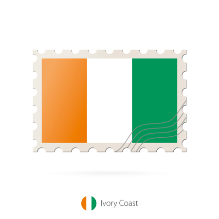 ivory: Postage stamp with the image of Ivory Coast flag. Ivory Coast Flag Postage on white background with shadow. Vector Stamp. Postage stamp and Ivory Coast flag. Vector Illustration.