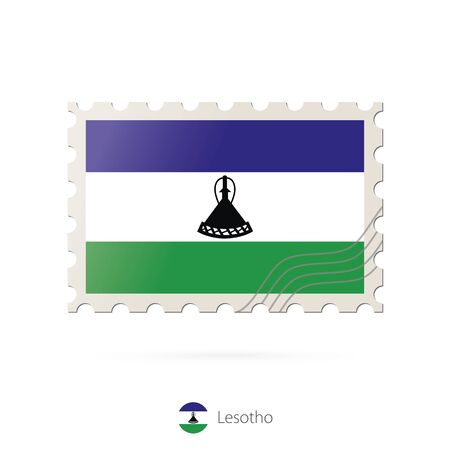 lesotho: Postage stamp with the image of Lesotho flag. Lesotho Flag Postage on white background with shadow. Vector Illustration.