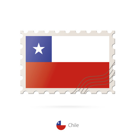 bandera de chile: Postage stamp with the image of Chile flag. Chile Flag Postage on white background with shadow. Vector Illustration.