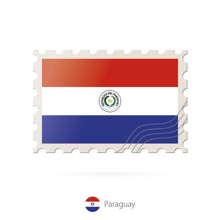 bandera de paraguay: Sellos postales con la imagen de la bandera de Paraguay. Paraguay franqueo de la bandera en el fondo blanco con la sombra. Ilustración del vector.
