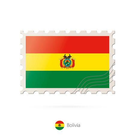 bandera de bolivia: Sellos postales con la imagen de la bandera de Bolivia. Bolivia franqueo de la bandera en el fondo blanco con la sombra. Ilustraci�n del vector.
