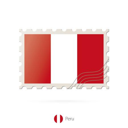 bandera de peru: Sellos postales con la imagen de la bandera de Perú. Perú franqueo de la bandera en el fondo blanco con la sombra. Ilustración del vector. Vectores