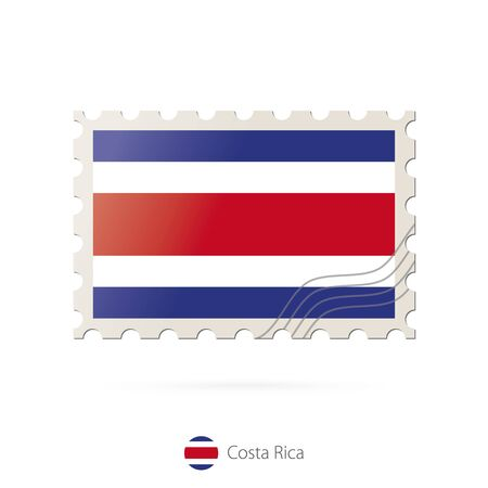 bandera de costa rica: Postage stamp with the image of Costa Rica flag. Costa Rica Flag Postage on white background with shadow. Vector Illustration. Vectores