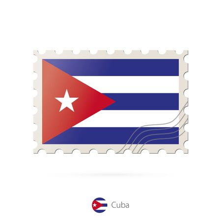 flag of cuba: Postage stamp with the image of Cuba flag. Cuba Flag Postage on white background with shadow. Vector Illustration.