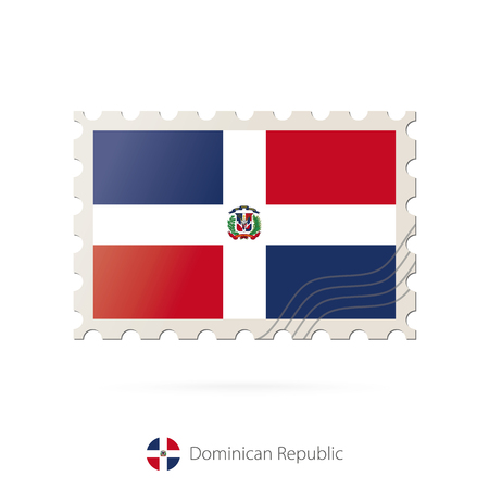 dominican republic: Postage stamp with the image of Dominican Republic flag. Dominican Republic Flag Postage on white background with shadow. Vector Illustration.