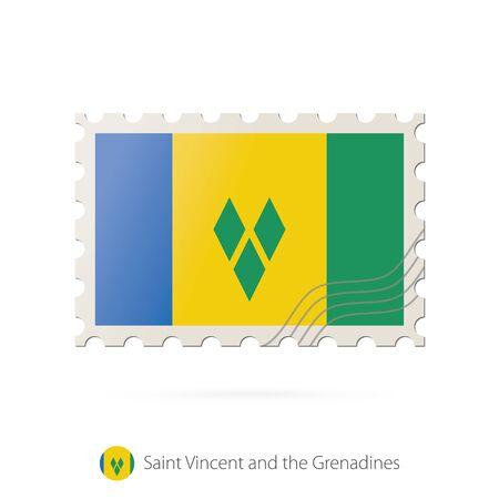 grenadines: Postage stamp with the image of Saint Vincent and the Grenadines flag. Saint Vincent and the Grenadines Flag Postage on white background with shadow. Vector Illustration.