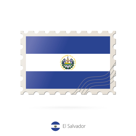el salvador flag: Postage stamp with the image of El Salvador flag. El Salvador Flag Postage on white background with shadow. Vector Illustration.