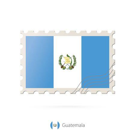 bandera de guatemala: Sellos postales con la imagen de la bandera de Guatemala. Guatemala franqueo de la bandera en el fondo blanco con la sombra. Ilustraci�n del vector.