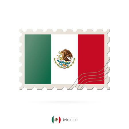 flag icons: Postage stamp with the image of Mexico flag. Mexico Flag Postage on white background with shadow. Vector Illustration.