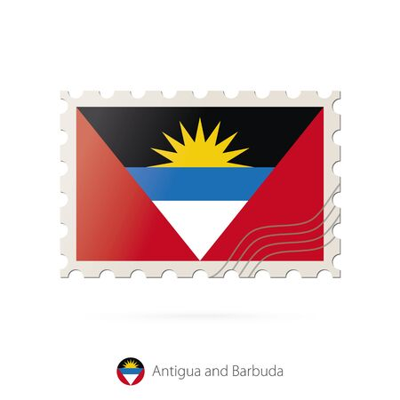 antigua: Postage stamp with the image of Antigua and Barbuda flag. Antigua and Barbuda Flag Postage on white background with shadow. Vector Illustration.