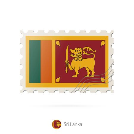 sri lanka flag: Postage stamp with the image of Sri Lanka flag. Sri Lanka Flag Postage on white background with shadow. Vector Illustration. Illustration