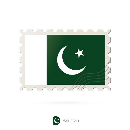 flag of pakistan: Postage stamp with the image of Pakistan flag. Pakistan Flag Postage on white background with shadow. Vector Illustration.