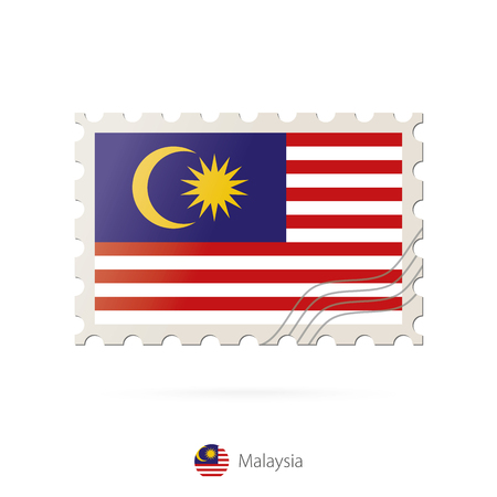 world flag: Postage stamp with the image of Malaysia flag. Malaysia Flag Postage on white background with shadow. Vector Illustration.