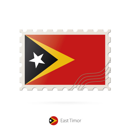 timor: Postage stamp with the image of East Timor flag. East Timor Flag Postage on white background with shadow. Vector Illustration.