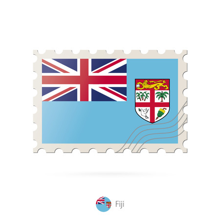 fiji: Postage stamp with the image of Fiji flag. Fiji Flag Postage on white background with shadow. Vector Illustration.