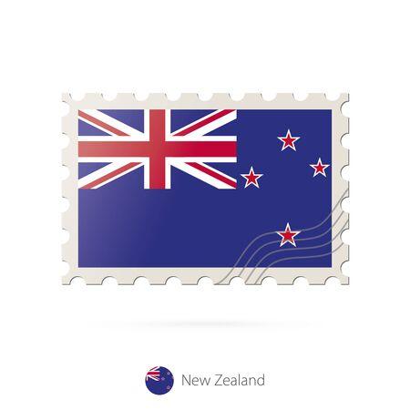 bandera de nueva zelanda: Sellos postales con la imagen de la bandera de Nueva Zelanda. Nueva Zelanda franqueo de la bandera en el fondo blanco con la sombra. Ilustración del vector.
