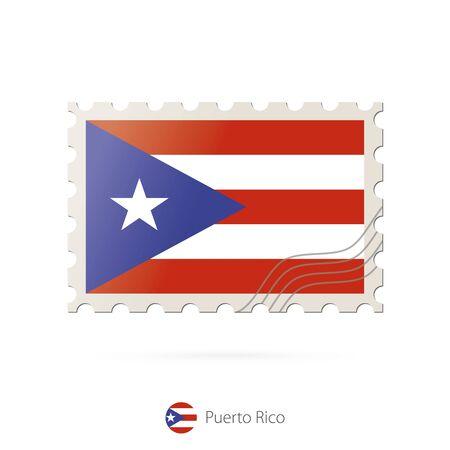 bandera de puerto rico: Sellos postales con la imagen de la bandera de Puerto Rico. Franqueo de la bandera de Puerto Rico sobre fondo blanco con la sombra. Ilustración del vector.