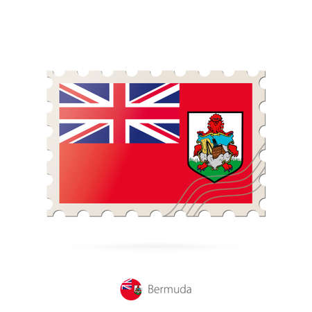 bermuda: Postage stamp with the image of Bermuda flag. Bermuda Flag Postage on white background with shadow. Vector Illustration. Illustration
