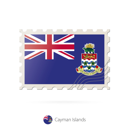 cayman islands: Postage stamp with the image of Cayman Islands flag. Cayman Islands Flag Postage on white background with shadow. Vector Illustration.
