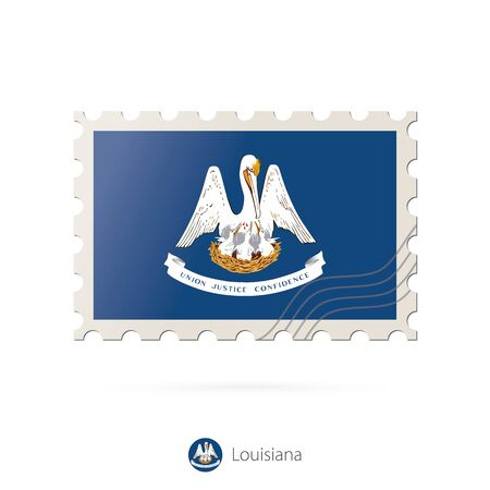 louisiana flag: Postage stamp with the image of Louisiana state flag. Louisiana Flag Postage on white background with shadow. Vector Illustration.
