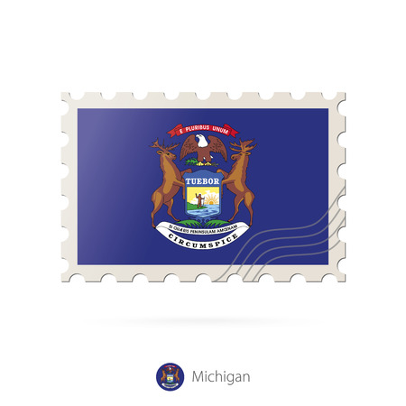michigan flag: Postage stamp with the image of Michigan state flag. Michigan Flag Postage on white background with shadow. Vector Illustration.
