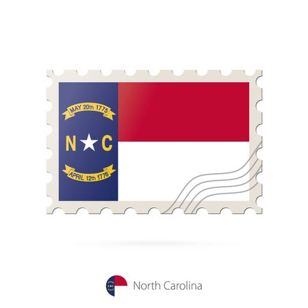 north carolina: Postage stamp with the image of North Carolina state flag. North Carolina Flag Postage on white background with shadow. Vector Illustration.