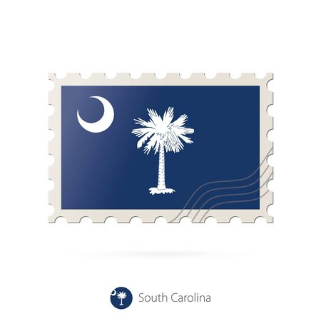 south carolina: Postage stamp with the image of South Carolina state flag. South Carolina Flag Postage on white background with shadow. Vector Illustration. Illustration
