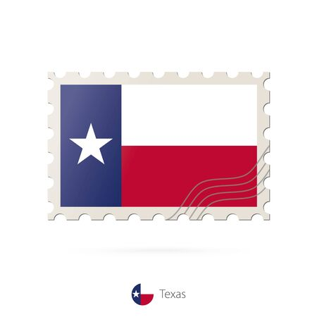 texas state flag: Postage stamp with the image of Texas state flag. Texas Flag Postage on white background with shadow. Vector Illustration.