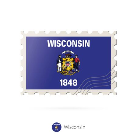 wisconsin flag: Postage stamp with the image of Wisconsin state flag. Wisconsin Flag Postage on white background with shadow. Vector Illustration.