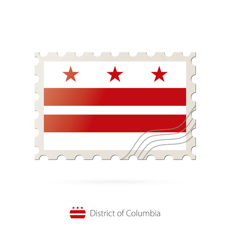 district of columbia: Postage stamp with the image of District of Columbia flag. District of Columbia Flag Postage on white background with shadow. Vector Illustration.