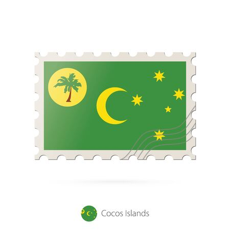 cocos: Postage stamp with the image of Cocos Islands flag. Cocos Islands Flag Postage on white background with shadow. Vector Illustration.