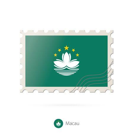 macau: Postage stamp with the image of Macau flag. Macau Flag Postage on white background with shadow. Vector Illustration.