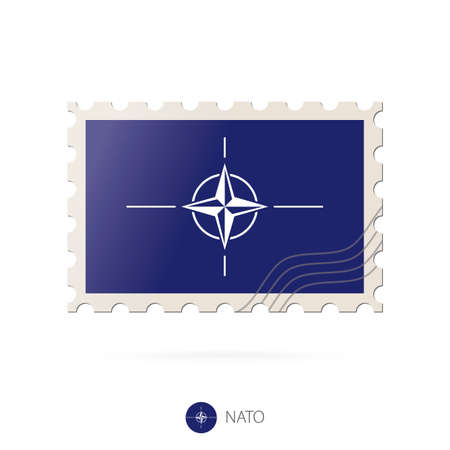 nato: Postage stamp with the image of Nato flag. Nato Flag Postage on white background with shadow. Vector Illustration. Illustration