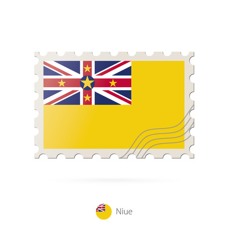 niue: Postage stamp with the image of Niue flag. Niue Flag Postage on white background with shadow. Vector Illustration. Illustration