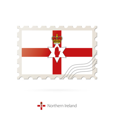 Postage stamp with the image of Northern Ireland flag. Northern Ireland Flag Postage on white background with shadow. Vector Illustration. Illustration