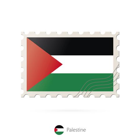 palestine: Postage stamp with the image of Palestine flag. Palestine Flag Postage on white background with shadow. Vector Illustration. Illustration