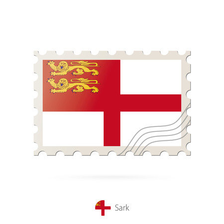 sark: Postage stamp with the image of Sark flag. Sark Flag Postage on white background with shadow. Vector Illustration.