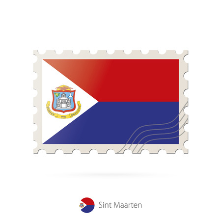 sint: Postage stamp with the image of Sint Maarten flag. Sint Maarten Flag Postage on white background with shadow. Vector Illustration. Illustration