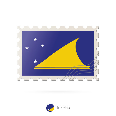 tokelau: Postage stamp with the image of Tokelau flag. Tokelau Flag Postage on white background with shadow. Vector Illustration.