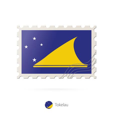 tokelau: Postage stamp with the image of Tokelau flag. Tokelau Flag Postage on white background with shadow. Vector Illustration.