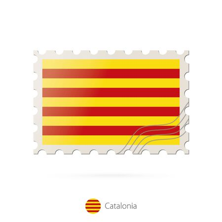 catalonia: Postage stamp with the image of Catalonia flag. Catalonia Flag Postage on white background with shadow. Vector Illustration.